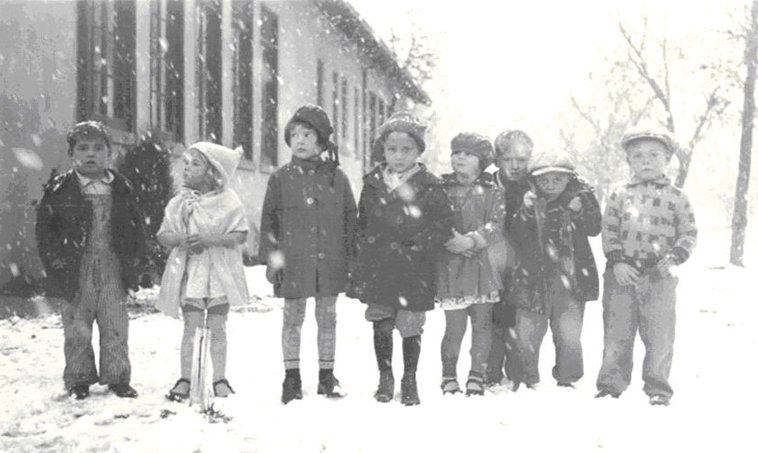 Kindergarteners on a snowy day